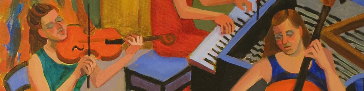 Detail of painting of musicians by Mary Jo Tydlacka