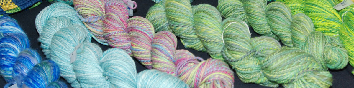 Yarn woven by members of the Weavers Guild of Greater Baltimore on display at the Open House & Holiday Sale