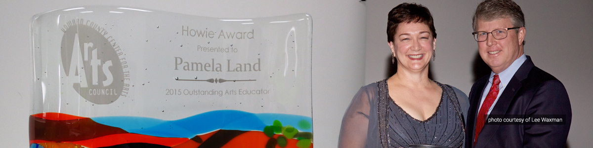 Pam Land accepts the 2015 Howie Award for Outstanding Arts Educator