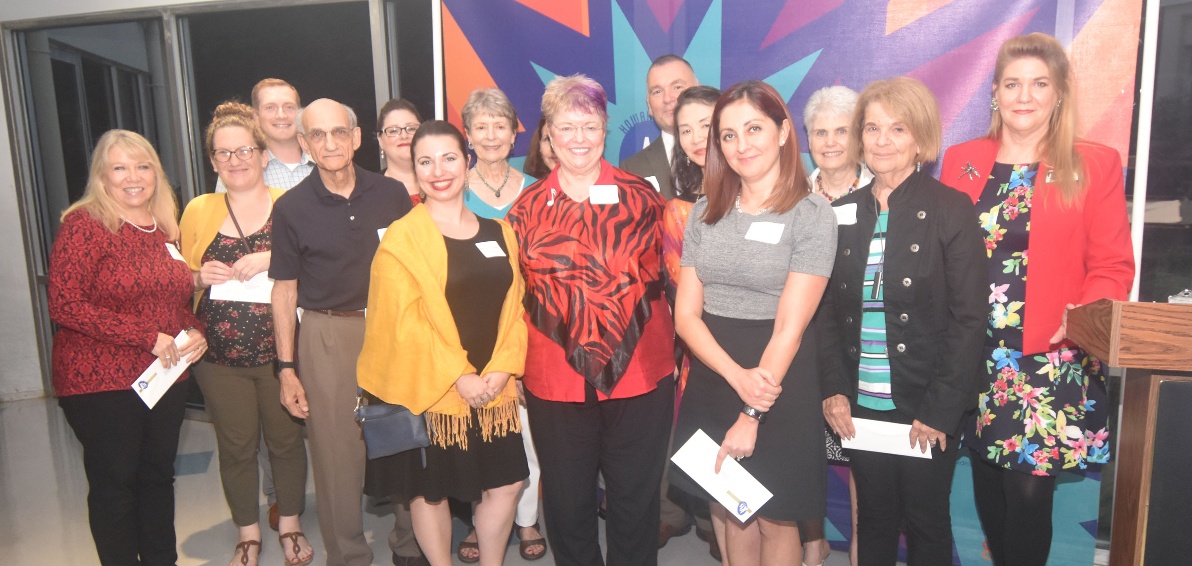 Maryland State Arts Council Executive Director Ken Skrzesz, HCAC Board President Julie Hughes Jenkins, and HCAC Executive Director Coleen West with FY19 Community Arts Development grantees. (HCAC photo)